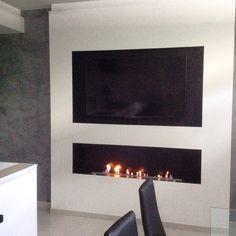 Linear modern fireplace  Basements  Pinterest  Modern fireplaces and Modern