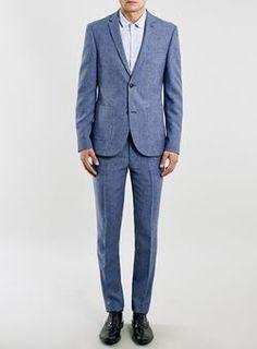 Blue Texture Double Cuff Long Sleeve Dress Shirt