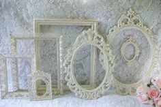 Shabby Chic Frames, Vintage Frames, Ornate Frames Set of Creamy White Frames Distressed in Gold, Wall Decor, Vintage Wedding Decor