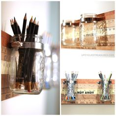Yard sticks, stainless still clamps, and mason jars create a cute and creative way to store and organize.