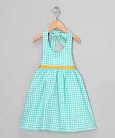 Take a look at this Aqua Gingham Halter Dress - Toddler & Girls  by Moo Boo's on #zulily today!