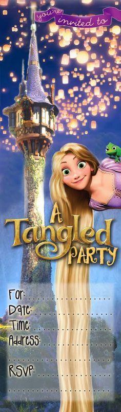 Niños GRATIS invitaciones de la fiesta: Invitación Tangled Partido * NUEVO *