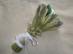 Dried lavender wheat silk roses wedding bouquet by FlowerDecoupage