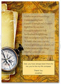 This Father's day poem card is ideal from an adult child, it features an old world map, layered with an antiqued scroll and compass. There is a touching poem and room to add your own, personal message. Customize this card online! Fathers Day Poems, Fathers Day Cards, Father's Day Card Template, Card Templates, Rip Dad, Old World Maps, Holiday Invitations, Mother And Father, Just Kidding