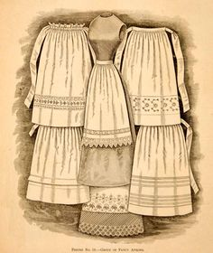 1890 Wood Engraving Fancy Victorian Aprons Women Clothing Fashion Household Lace