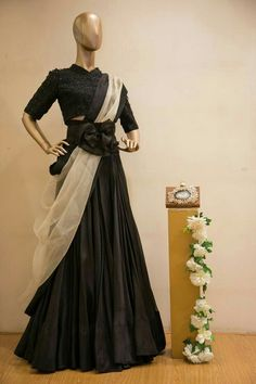 Of monochromes and statement corset belts, this stunning piece by is the perfect reception look for you! Shop it away at Aza Altamount. Western Outfits For Women, Western Dresses, Indian Dresses, Indian Outfits, Lehenga Designs, Saree Blouse Designs, Dress Designs, Bridal Dresses, Girls Dresses