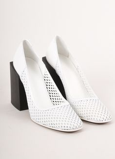 New White and Black Cut Out Square Heel Pumps