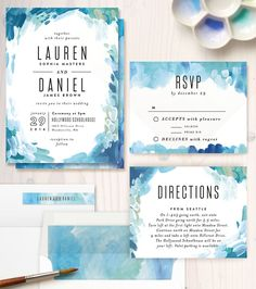watercolor wedding invitations More