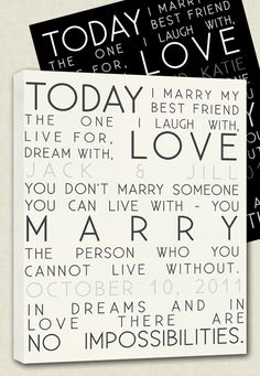$95.00 Today I marry my best friend - gift for your spouse on your wedding day! By #geezees