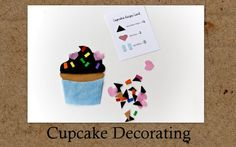 "felt cupcake decorating bag instructions and ""recipe cards"""