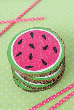 Fun Dollar Store Crafts for Teens - DIY Painted Watermelon Coasters - Cheap and Easy DIY Ideas for Teenagers to Make for Dollar Stores - Inexpensive Gifts and Room Decor for Tweens, Boys and Girls - Awesome Step by Step Tutorials with Instructions for Cool DIY Projects http://diyprojectsforteens.com/dollar-store-crafts-teens