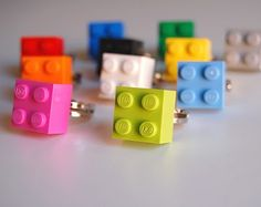 Rings for party favors and 10 more uses of Legos.  I hope they won't die out they are such great fun.