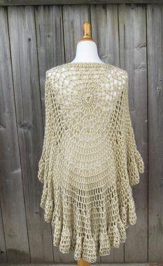 BEIGE CIRCULAR PONCHO Shawl / Cream Crochet / by marianavail, $75.00