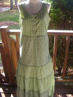 Peasant Prairie Country Girl Dress Pinafore in sage green