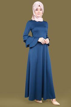 Volan Kol Tesettür Elbise İndigo Ürün kodu: LRJ6152 --> 59.90 TL