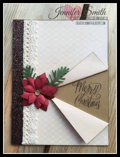 scrapbook cards ideas card making Simple Christmas Cards, Christmas Card Crafts, Homemade Christmas Cards, Christmas Cards To Make, Christmas Greeting Cards, Homemade Cards, Scrapbook Christmas Cards, Holiday Crafts, Christmas Decorations
