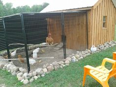 Chicken Coop - - rocks around the bottom of coop and pen deter predators. Building a chicken coop does not have to be tricky nor does it have to set you back a ton of scratch.