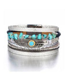 Pulsera cuero plateada - Las pulseras de cuero más originales f823656eb19f