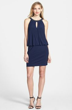 JS Boutique Beaded Collar Blouson Jersey Dress available at #Nordstrom Would be hot on Jes when she feels like glamming it up!