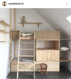 Loft bed for the children& room- Hochbett fürs Kinderzimmer Loft bed for the children& room - Modern Bunk Beds, Cool Bunk Beds, Kids Bunk Beds, Loft Beds, Loft Spaces, Kid Spaces, Casa Kids, Kids Room Design, Kidsroom
