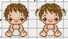 Baby Boy & Girl perler bead pattern