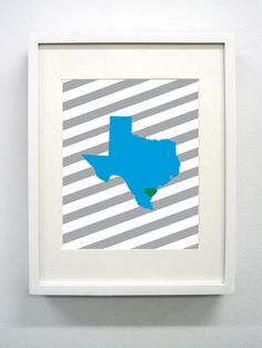 Corpus Christi Texas State Giclée Print  8x10  Blue by PaintedPost, $15.00 #paintedpoststudio - Texas A&M University - Corpus Christi - Islanders- What a great and memorable gift for graduation, sorority, hostess, and best friend gifts! Also perfect for dorm decor! :)