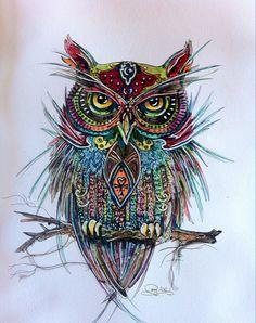 owl, india ink Oct 9 done by my Ma- Amy McKay Owl Tattoo Drawings, Bird Drawings, Owl Tattoos, Tattoo Ink, Arm Tattoo, Fish Tattoos, Sleeve Tattoos, Buho Tattoo, Owl Artwork