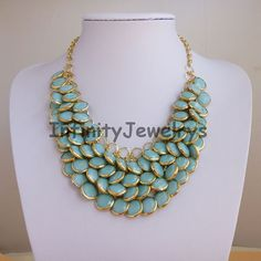 Mint Jewelry , Bib Necklace , Bubble Statement Necklace , Bridesmaid Gift -Mermaid Necklace ,beadwork Beaded Jewelry