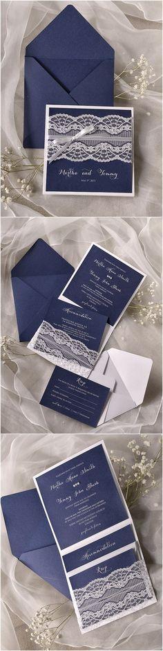 Navy blue Lace Wedding Invitations @4LOVEPolkaDots