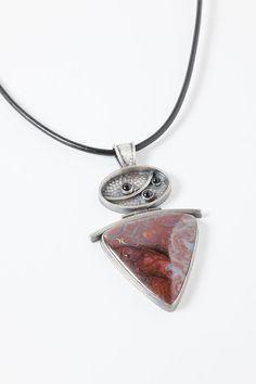 Loving this boulder opal sterling silver hinged pendant @Renee Adams