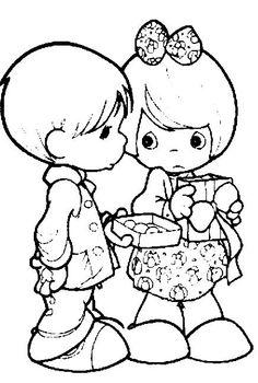 Girl and boy with box of candy