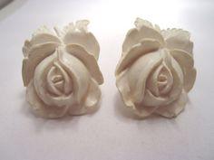 VTG LARGE WHITE MOLDED PLASTIC CELLULOID ROSE FLOWER EARRINGS