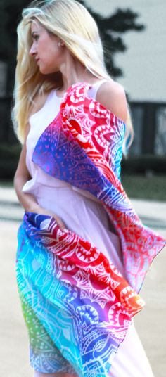 Marrero Collection Mandala Silk Scarf Silk/Cotton blend, the scarf features a Mandala collage on a bright Tie-Dye background and hand rolled finished edge.
