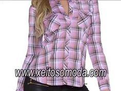Video Camisa rosa de cuadros para chicas. Tienda en España http://www.xeitosomoda.com/27-blusas