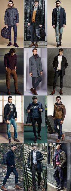 Men's Footwear Styles For Autumn/Winter 2015: Leather Brogue Boots Outfit Inspiration Lookbook