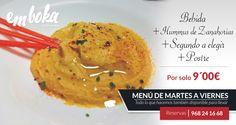 Hoy en nuestro menú diario por sólo 9 euros, incluimos como primero, entre tres primeros a elegir: HUMMUS DE ZANAHORIAS, receta recogida del blog http://vidasaludablesisepuede.blogspot.com.es/?m=1 de nuestra amiga y bloguera gastronómica Ruth Cantó y que está muy bueno, ven a probarlo a EmboKa by Simmons en La Flota, Murcia. Reservas: 968241668