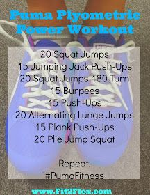 Puma Plyometric Workout I did this yesterday! I threw in 2 minutes of boxing after the first round. It's a good workout! Plyo Workouts, Plyometric Workout, Killer Workouts, Plyometrics, Easy Workouts, Lose Fat Workout, Muscle Fitness, Fitness Fun, Fitness Tips