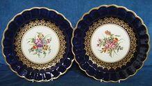 Pair of Coalport Dessert Plates c.1870 in 1st Period Worcester Style