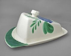 Shorter & Son Ltd Vintage Cheese Dish & Lid floral pattern on lid