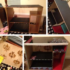 Particle Board Desk And Hutch. Spray Painted Red With Black Glaze. | DIY |  Pinterest | Particle Board, Spray Painting And Desks