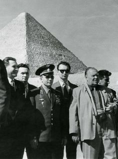 Yuri Gagarin (1934 – 1968), a Russian cosmonaut, the first human in space, visits the Egyptian pyramids, 1962