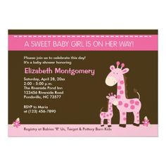 Pink Giraffe Mommy and Baby Girl Shower Invitation