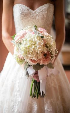 this bridal bouquet includes a mix of light pink garden roses white hydrangeas babys