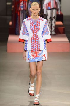 But Kenzo clothes rarely need accessorizing or embellishment because the print and pattern do the trick nicely. Leon and Lim are fast becoming mix-masters who can stand alongside the best of them, splicing their out-there, often surreal motifs with more traditional looks like tight florals or stripes.   - HarpersBAZAAR.com