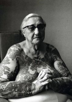 "Imogen Cunningham photographs Irene ""Bobby"" Libarry, in 1976 THIS IS WHAT ALL THE KIDS WILL LOOK LIKE IN 50 YRS This photo really got to me because i never seen an old women with tattoo and never been so natural and comfortable in the photo and that's what i like about this photo."
