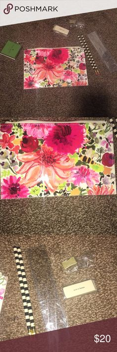 Kate spade pencil case and desk accessories Pencil case and two pencils, ruler, eraser, sharpener. All are brand new and never been used. kate spade Accessories