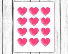 Printable heart poster - geometric heart print - facet heart printable art - love printable poster - modern print - INSTANT DOWNLOAD