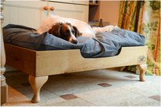 wood dog bed raised light oak