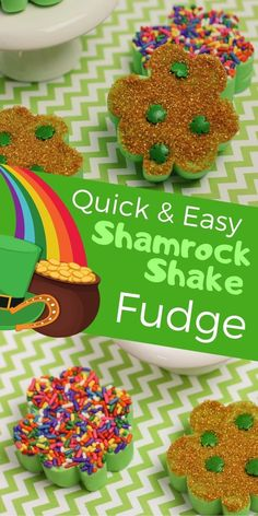 Try this quick and easy Shamrock Shake Chocolate Fudge Recipe to make with the kids for a fun St. Patrick's Day treat! #StPatricksDay #StPaddysday #fudge #Kids
