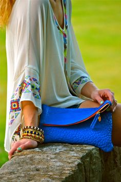 Bright Blue Clutch